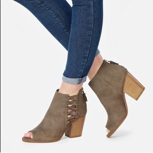 JustFab   inessa open toe bootie in taupe